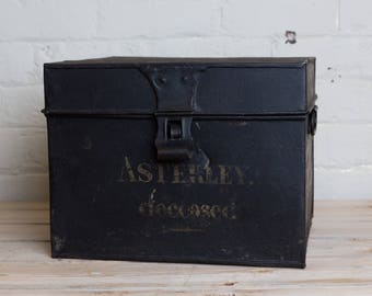 Vintage Black metal painted box, storage, office, den, metro home,industrial home. functional, man cave, lidded box, office storage,