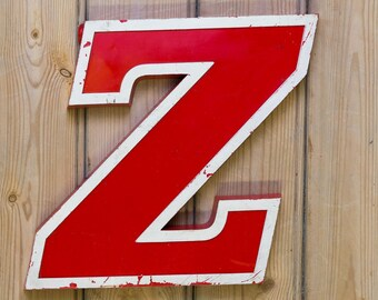 Vintage Letter Z,  Alphabet, Z, Wall Art, red, word art, signage, initial Z, capital letter
