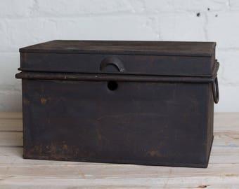 Vintage Black box, storage, office, den, metro home,industrial home, metal, man cave, garage