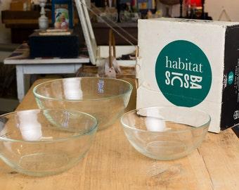 Vintage Habitat 3 Bowl Set, Mid century kitchen, retro kitchen, vintage kitchen glass bowls, French glass bowls, serving bowls