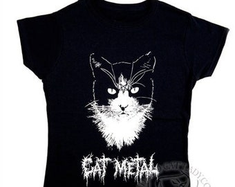 Cat Metal t-shirt LADIES LARGE ONLY