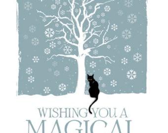 Black Cat Magical Yule Greetings card