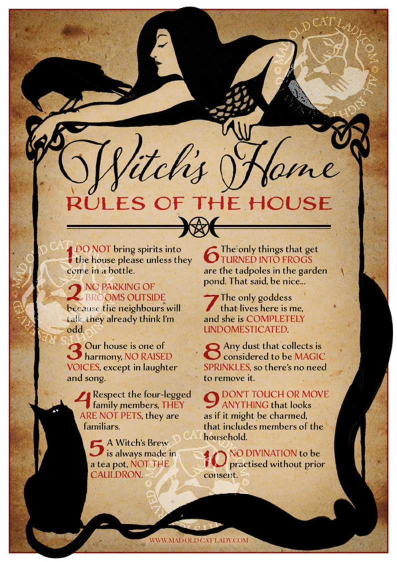 Witch's Home  Rules of The House A4 art print image 0