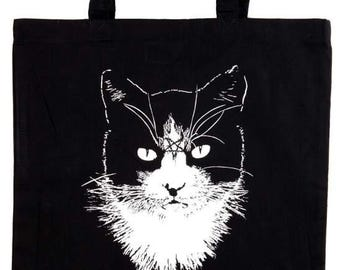 Cat Metal black tote bag