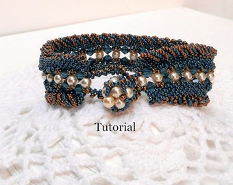 "Seed bead tutorial for Peyote and RAW cuff ""Regalia"" Bracelet in Blue and Bronze INSTANT DOWNLOAD"