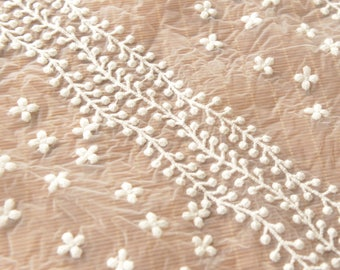 Embroidered Organza Fabric Sold by Half Meter MJ720