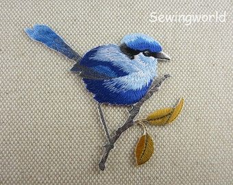 Iron-on Patch, Blue Bird on Twig Patch, Embroidered Patch for Jeans, Backpack