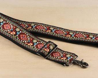 5cm wide Red Embroidered Bag Strap Adjustable Purse Strap Replacement