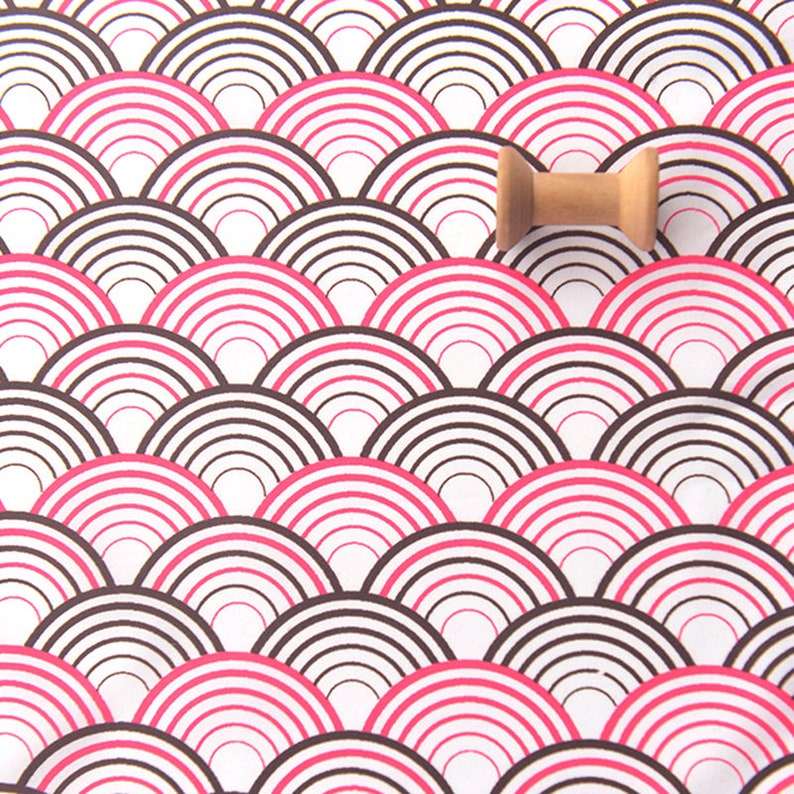 1 meter Pink White and Black Fish Scale Fabric MJ1005