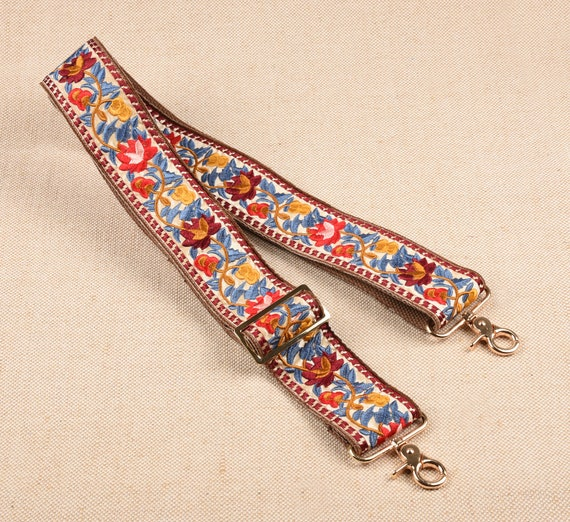 5cm wide Blue Embroidered Bag Strap Adjustable Purse Strap Replacement