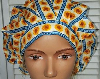 61051cb96ca08b Bouffant Scrub Hat: Sunflowers