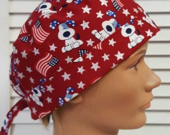 f99fad211cb Patriotic Fourth of July Sparkle Dogs - Adjustable, Fold Up Scrub Hat