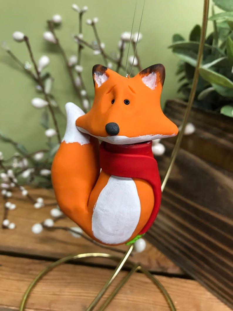 Fox Ornament Fox Christmas Ornament Clay Fox Ornament image 0