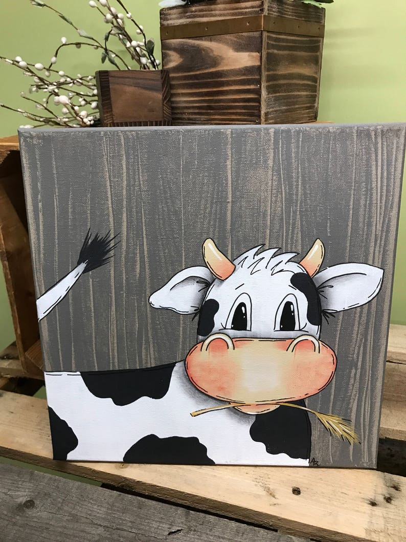 Cow Wall Art Farm Nursery Cow Print Farm Animal Wall Art image 0