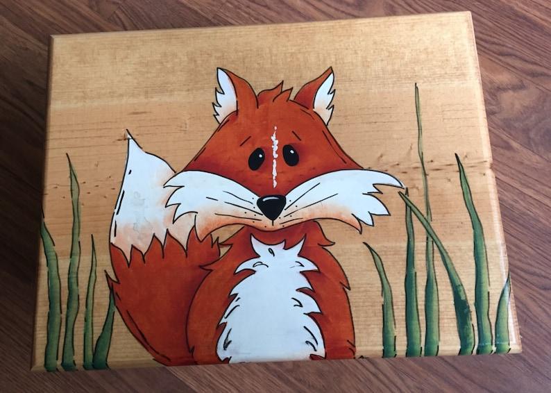 Step Stool Fox Step Stool Kids Stool  Fox Stool Woodland image 0