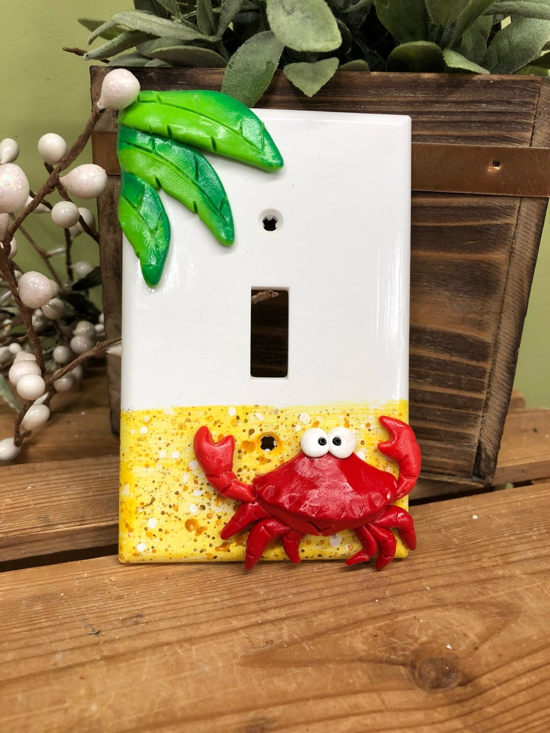 Crab Switch Plate Cover Single Switch Plate Nautical Decor image 0