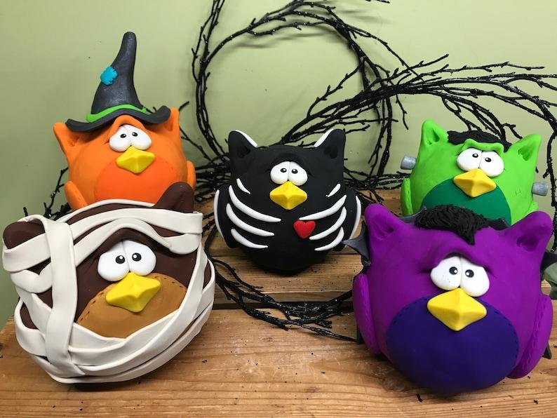 Halloween Owls Set of 5 Large Halloween Character Owls image 0