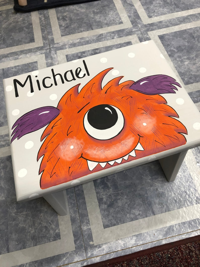 Orange One eyed Funny Monster Personalized Children's image 0