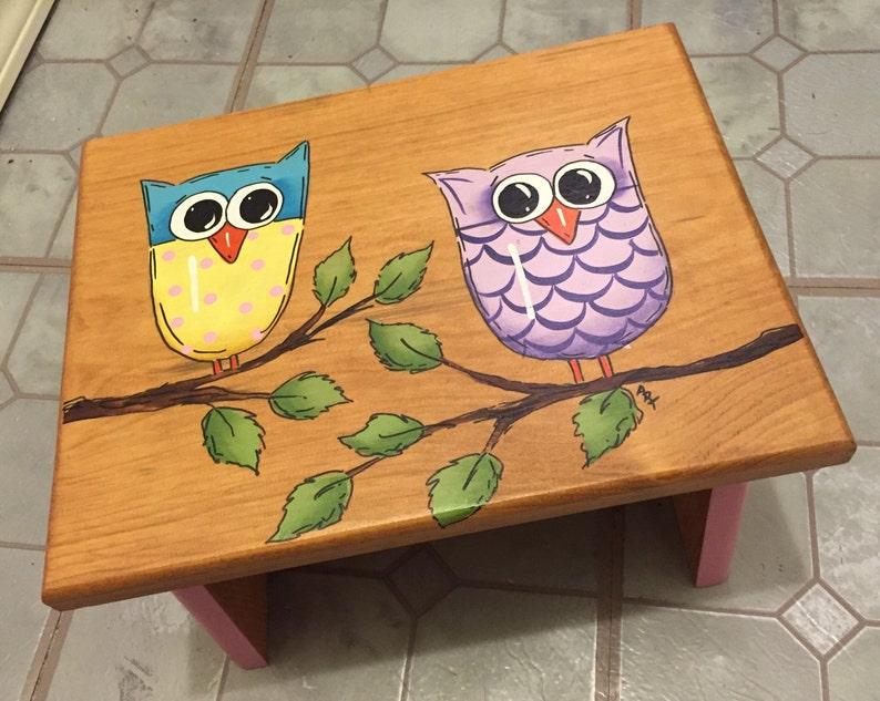 Girls step stool  Owls stool Bathroom Stool Handmade Stool image 0