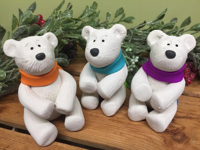 Polar Bear Christmas Ornament Handmade Polymer Clay Polar image 0