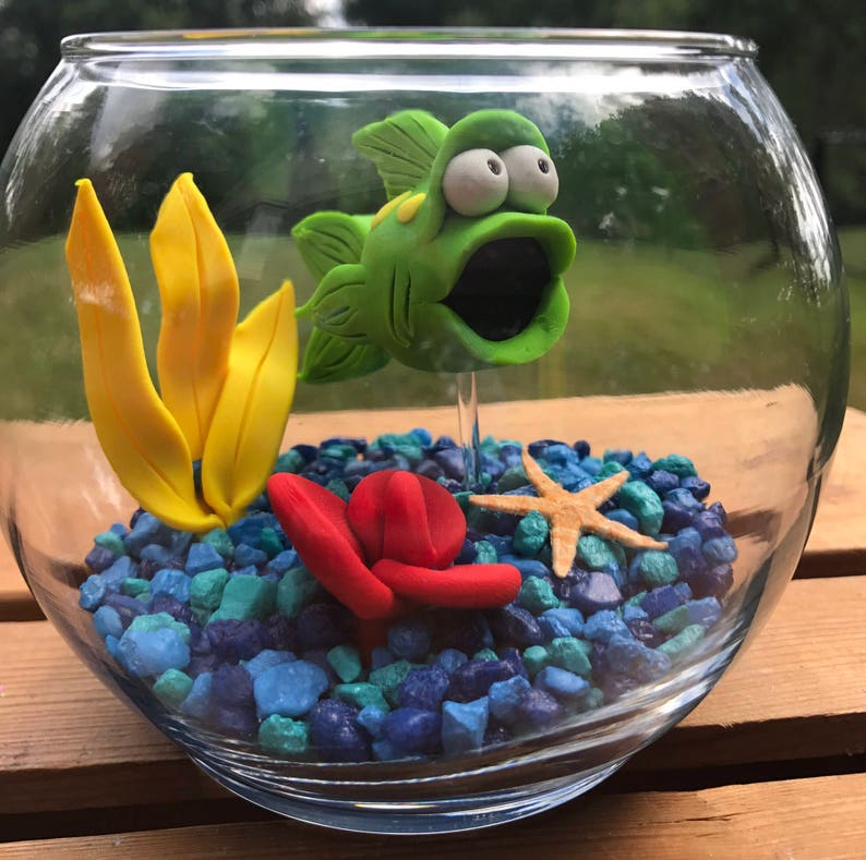 Fish Bowl Aquarium Small Fish Bowl Pet Fish Clay Fish image 0