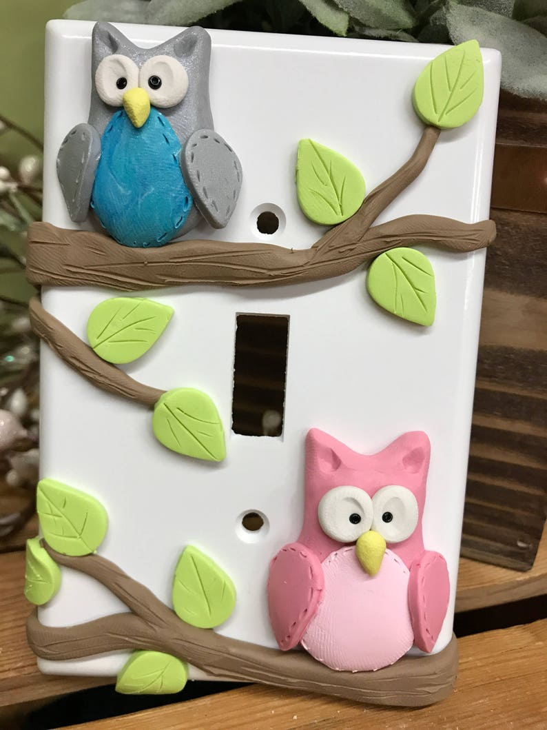 Owl Switch Plate Cover Pair of Owls 2 Owl Single Switch image 0