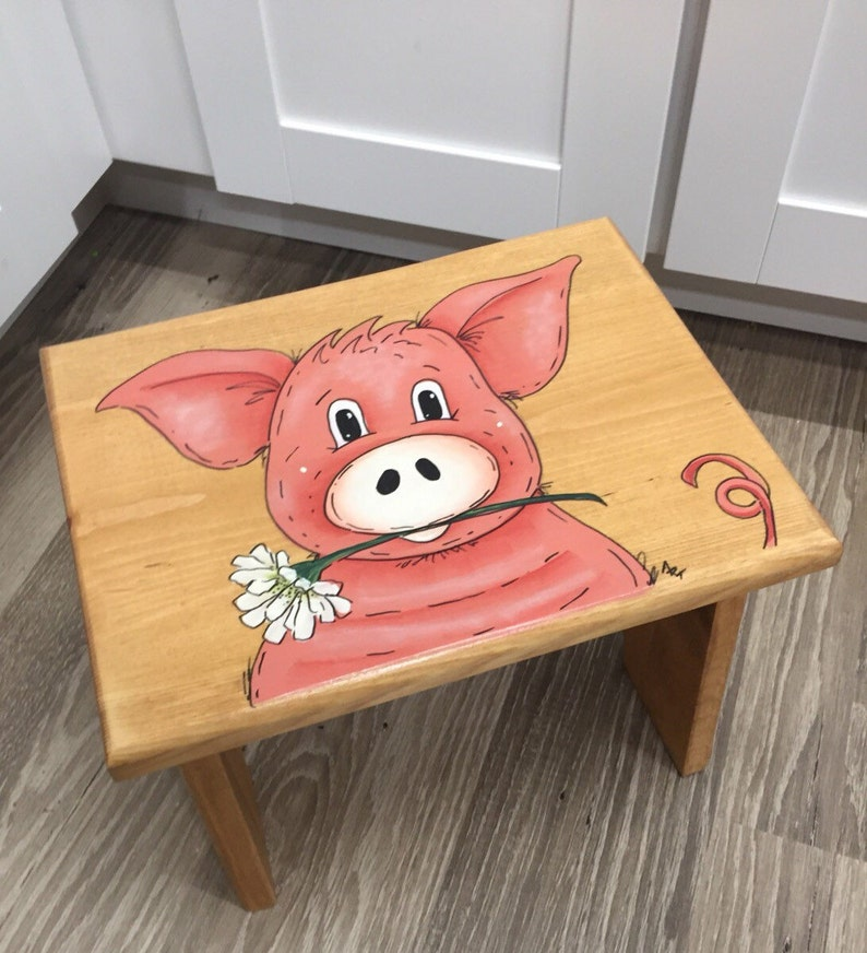 Step Stool Personalized Stool Kids Pig Stool Children's image 0