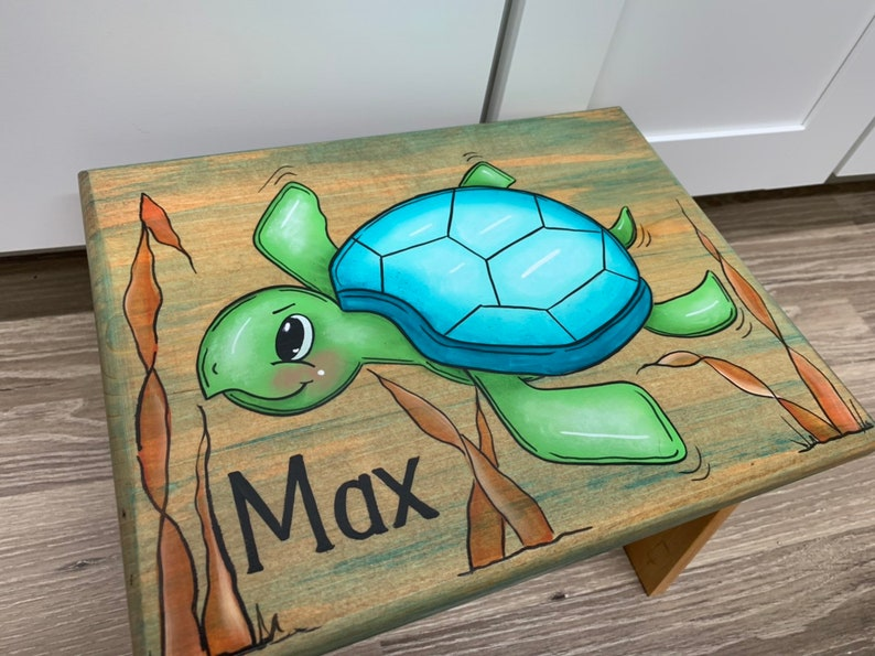 Sea Turtle Step Stool Personalized Step Stool kids stool image 0
