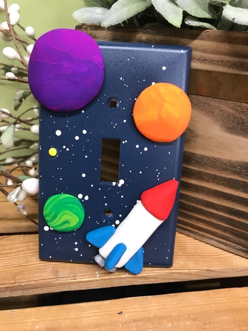 Rocket Ship Switch Plate Cover Single Switch Plate Space image 0