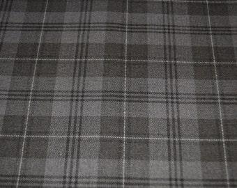 Tartan Fabric. Grey Granite. Grey Fashion tartan.  Poly viscose. Machine Washable. Price per half metre.