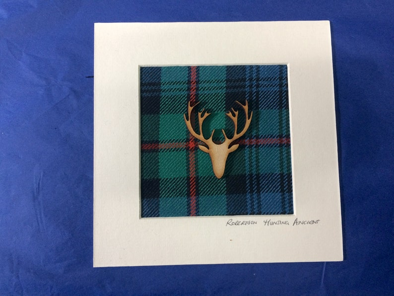 Optional Scottish motif Custom available. Custom Tartan picture with Ivory Card mount 5 inches x 5 inches