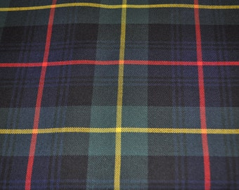 Farquharson Modern tartan fabric. Poly viscose. Machine Washable. Price per half metre.