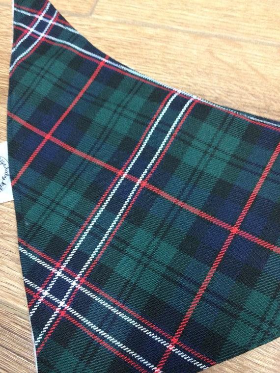 Bébé Bandana Dribble Bib Bibs Royal Stewart White Red Tartan Fabric Burp dress a