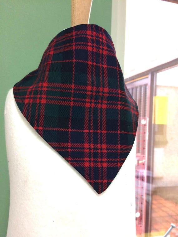 Baby Bandana Dribble Bib Bibs Royal Stewart White Red Tartan Fabric Burp Dress A