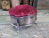 French Antique Louis XV Sterling Silver Cushion Needle Holder trinket Box t750