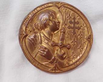 French Antique religious Jeanne D'Arc Joan of Arc Medallion s566