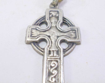 French Religious Antiques Vintage Silver plated Celtic Cross pendant t417