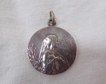 French religious jewelry Virgin Mary Silver Pendant circa 1900 v594