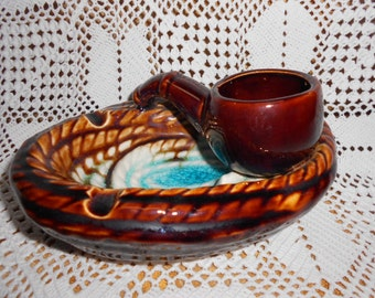 Vintage French Majolica Pipe Ash Tray a417