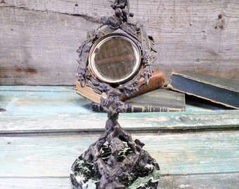 French Antique Bronze & Marble Mirror Pocket Watch Holder / Ring tree / jewelry Holder circa 1860 t831