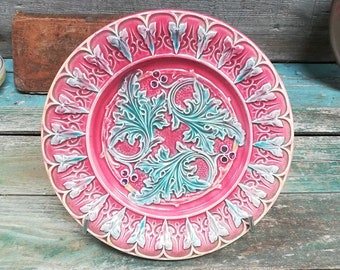 Antique French Majolica / Barbotine Plate  Rare Red color 20s s572