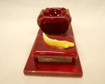 Vallauris Art Pottery French Vintage Bordeaux Red Majolica Ashtray & Matchbox Holder b107