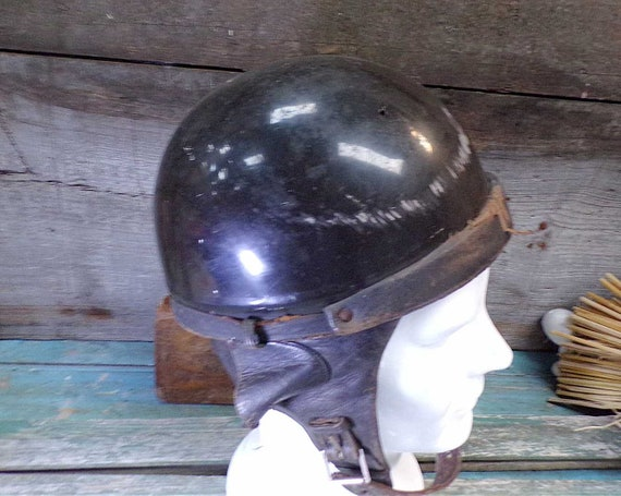 Vintage French Leather Motocycle Helmet s335