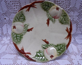 French Antique Boulenger Handpainted Majolica / Barbotine Apples Compote a359