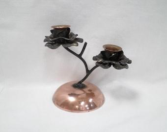 Copper & Tin Candle Holder French Vintage v355