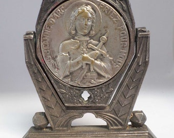 French antique Art Deco engraving Joan Of Arc Medal r54