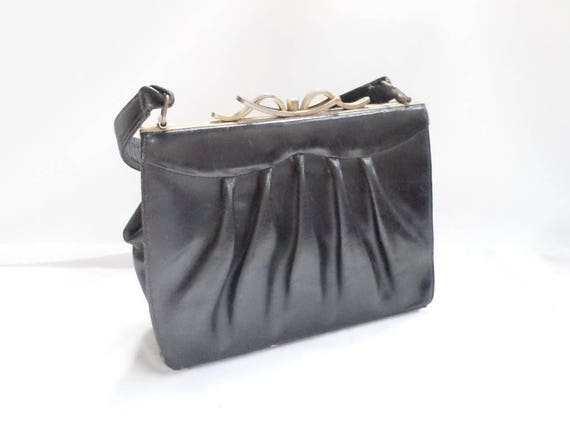 72d8cea70791 Vintage French black Leather Purse with unusual Art Deco clasp