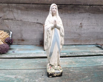 French Religious Antique Plaster Statue Virgin Mary r09