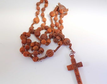 French Antique Wooden Rosary Pendant r76