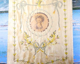 Exceptional French Antique Silk Embroidery Lady's Hand Fire Screen or Wig powdering screen Louis XVI period circa 1770 t685